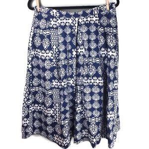 Ganesh Linen Geometric Print Blue White Midi Skirt